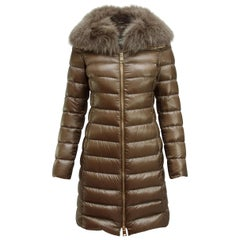 Herno Pewter Fox Fur Trimmed Puffer Coat