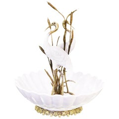 Herons Cup in Brass and White Porcelain