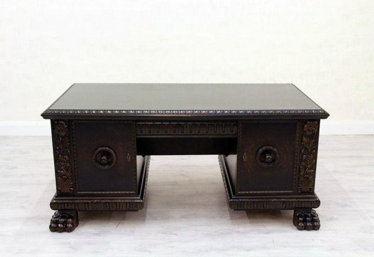 Herrenzimmer Tisch Löwentatzen Alt Antik Schreibtisch Büromöbel For Sale 1
