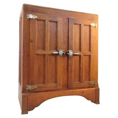 Herrick's Antique Vintage Wood Ice Box / Refrigerator