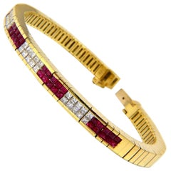 Herring Bone bracelet 18kt 3.50ct. natural ruby diamonds channel vintage deco