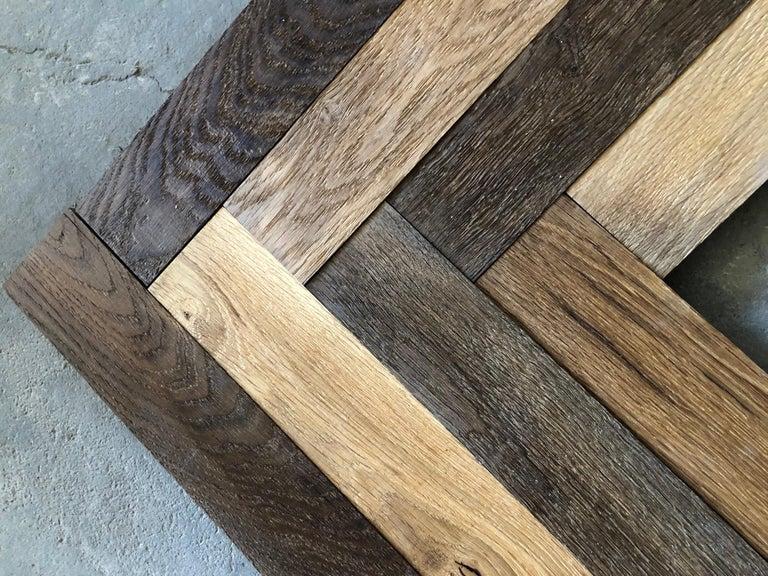 Louis XIV Herringbone Flooring French Antique Wood Oak 'Solid', France For Sale