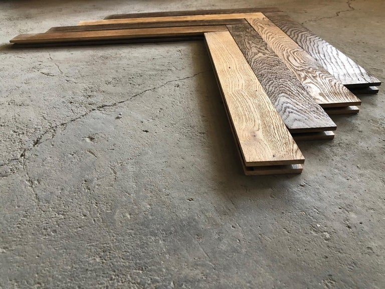 Hand-Carved Herringbone Flooring French Antique Wood Oak 'Solid', France For Sale