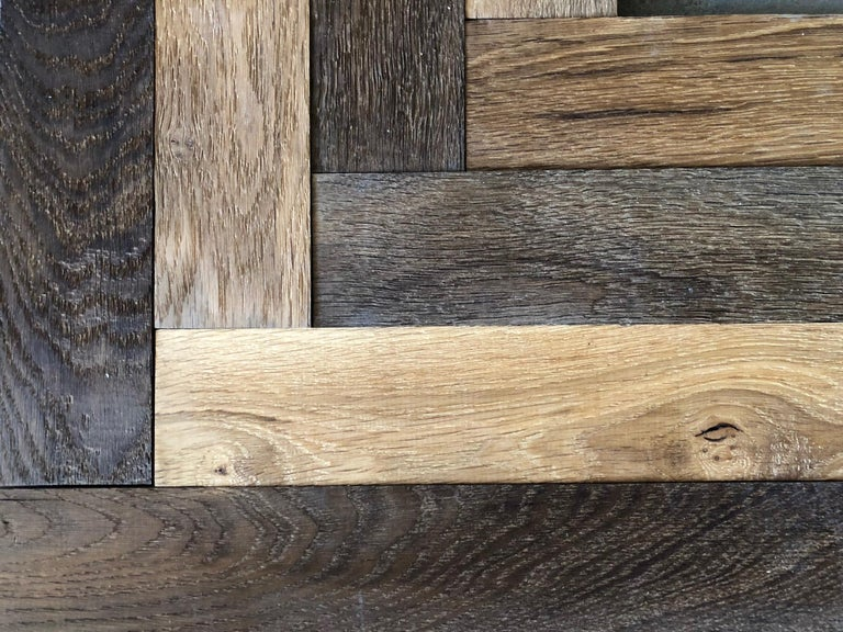 Herringbone Flooring French Antique Wood Oak 'Solid', France In Good Condition For Sale In LOS ANGELES, CA
