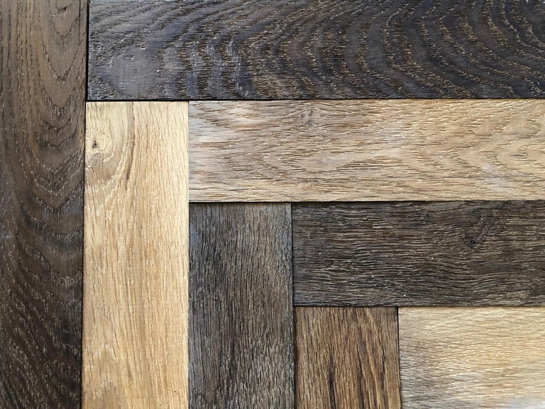 20th Century Herringbone Flooring French Antique Wood Oak 'Solid', France For Sale