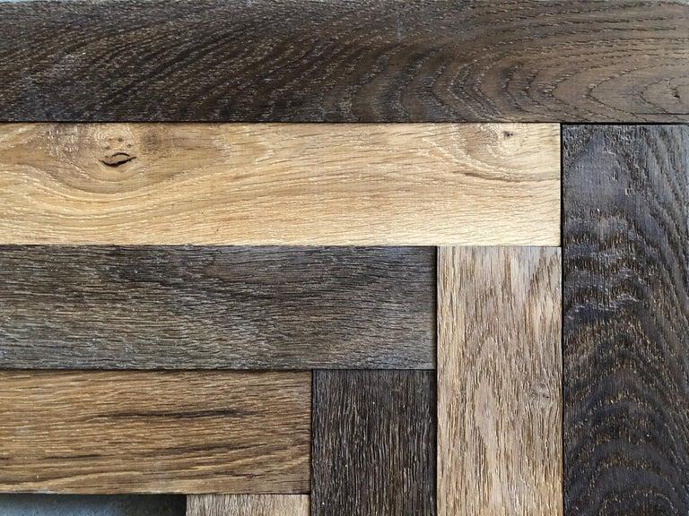 Herringbone Flooring French Antique Wood Oak 'Solid', France For Sale 1