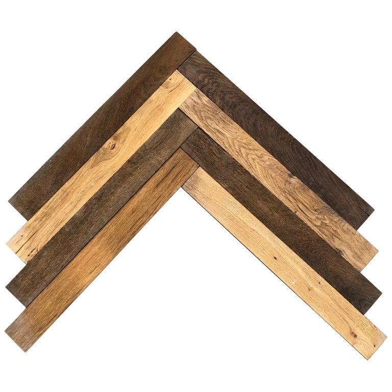 Herringbone Flooring French Antique Wood Oak 'Solid', France For Sale