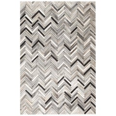 Herringbone Gray White and Black Luxurious El Cielo Large Cowhide Area Floor Rug