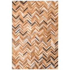 Herringbone Pattern Brown and White De Los Bosques Large Cowhide Area Floor Rug