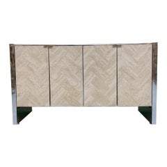 Herringbone Stone Inlay Chrome Credenza