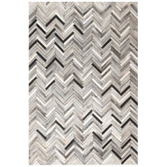 Herringbone White and Black, Luxurious El Cielo Cowhide Area Floor Rug Large