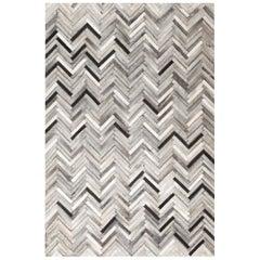 Herringbone White and Black, Luxurious El Cielo Cowhide Area Floor Rug X-Large