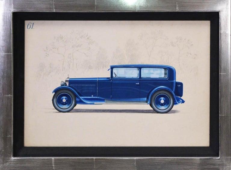 Herschu (Herbert Schultz) Still-Life Painting - 2-door saloon coachwork design by Alexis Kellner AG for Audi Type SS or Type T.