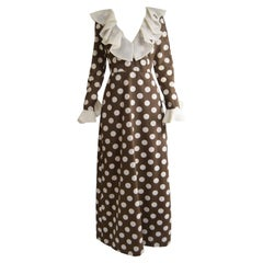 Hershelle Young Mayfair Brown Polka Dot Print Organza Collar Maxi Dress, 1960s
