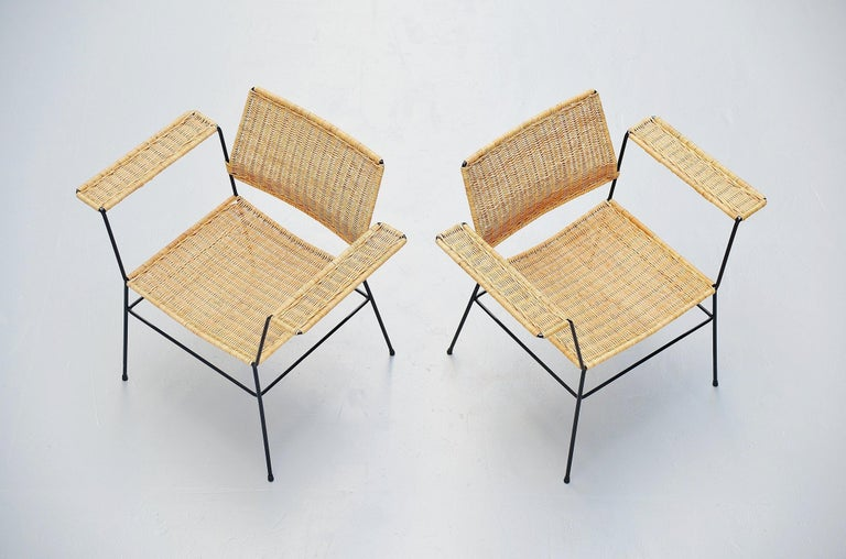 Mid-Century Modern Herta Maria Witzemann Cane Armchairs Pair Germany 1954 For Sale