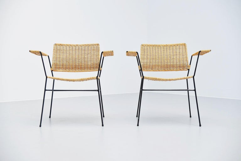 Cold-Painted Herta Maria Witzemann Cane Armchairs Pair Germany 1954 For Sale