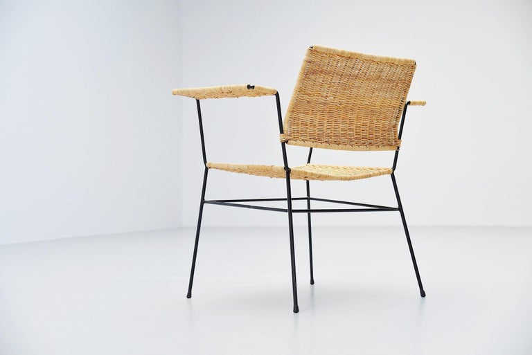 Metal Herta Maria Witzemann Cane Armchairs Pair Germany 1954 For Sale