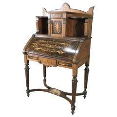 Herter Brothers Inlaid Walnut American Victorian Secretary Desk, Circa 1870s