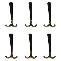 Hertha Baller Brass Wall Hooks Model 'Wieden' 15 Pieces Available