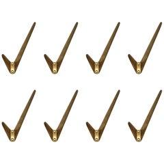 Hertha Baller Polished Brass Wall Hooks Model 'Neubau' 8 Pieces Available.