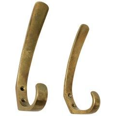 Hertha Baller Elegant Brass Wall Hooks Model 'Oper' Set of Two