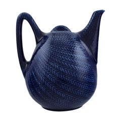 """Hertha Bengtson for Rörstrand, """"Blå eld"""" Porcelain Teapot, 1960s"""