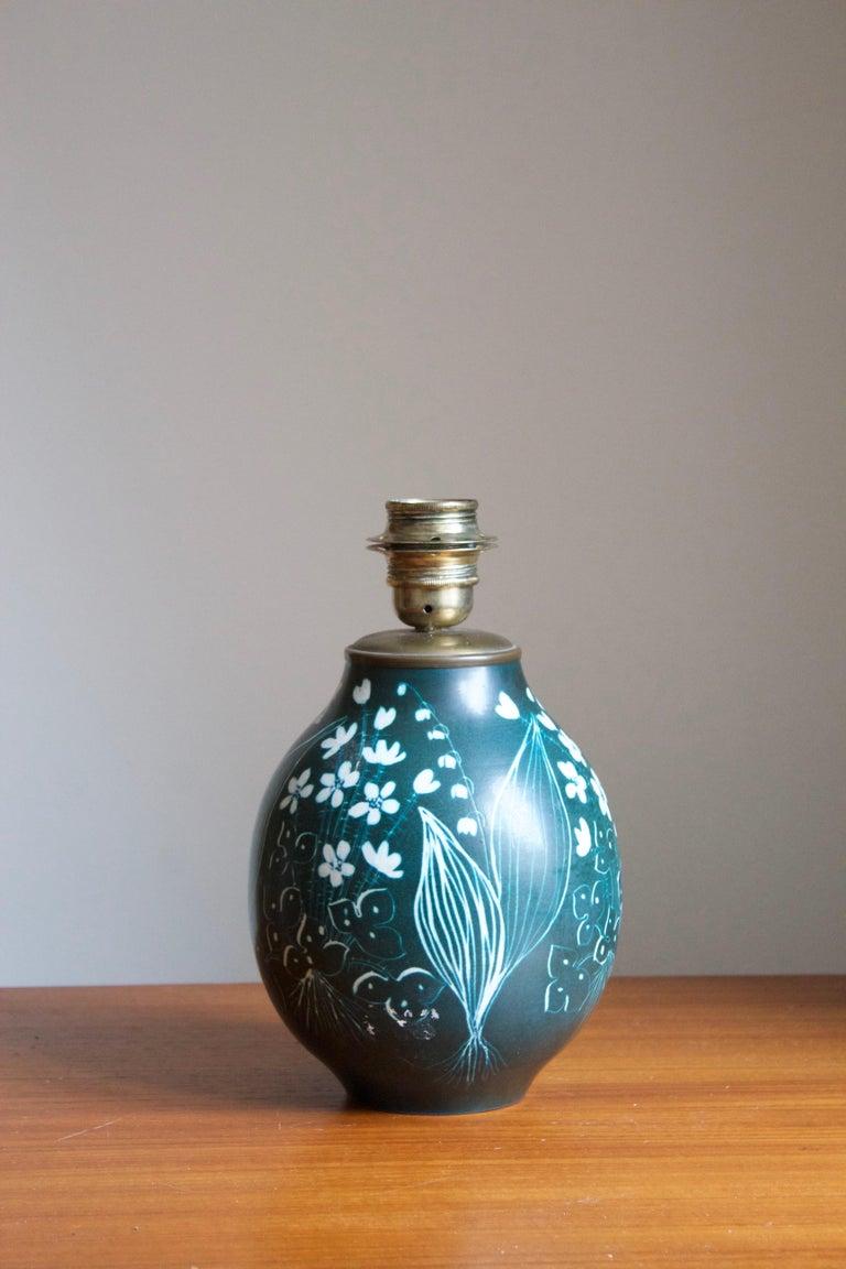 Mid-Century Modern Hertha Bengtsson, Table Lamp, Blue Glazed Stoneware Brass Rörstand, Sweden, 1950 For Sale