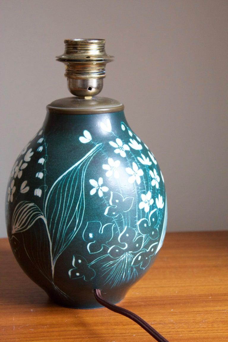European Hertha Bengtsson, Table Lamp, Blue Glazed Stoneware Brass Rörstand, Sweden, 1950 For Sale