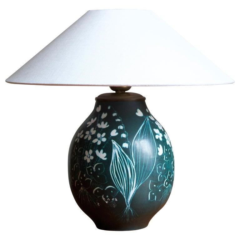Hertha Bengtsson, Table Lamp, Blue Glazed Stoneware Brass Rörstand, Sweden, 1950 For Sale