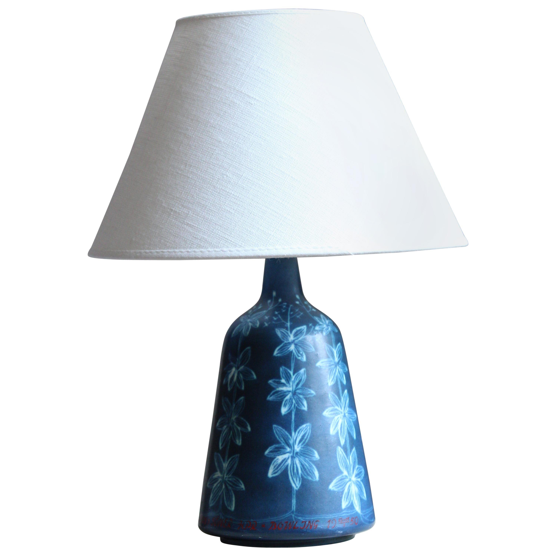 Hertha Bengtsson, Table Lamp, Blue Glazed Stoneware, Rörstand, Sweden, 1950