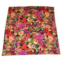 "Herve Bernard Glorious ""Gathering of Florals"" Silk Scarf"
