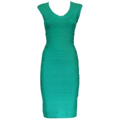 Hervé Léger Aqua Green Essential Dress S