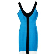 Herve Leger Atlantis Blue Tasha Bandage Dress XXS