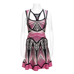 Herve Leger Aztec Pattern Jacquard Knit Cutout Detail A Line Anaya Dress XXS