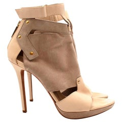 Herve Leger Beige Leather & Suede Cut-out Heeled Sandals - Size 37.5
