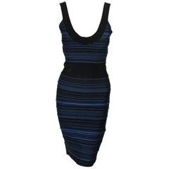 Herve Leger Black and Blue Bandage Striped Dress