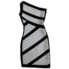 Herve Leger Black and Grey One Shoulder Body-Con Dress XS