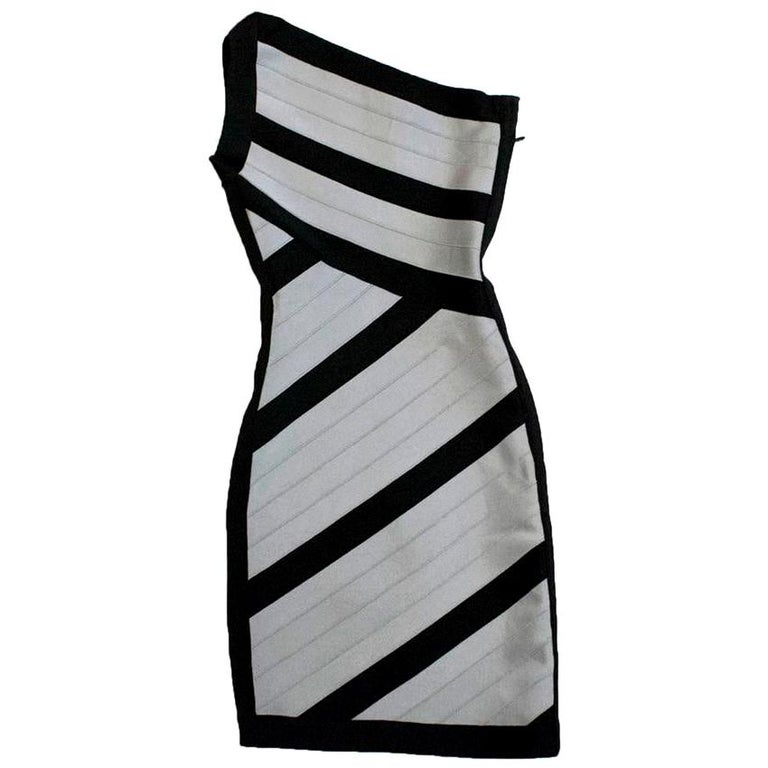Herve Leger Black and Grey One Shoulder Body-Con Dress XS For Sale