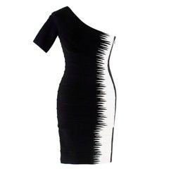 Herve Leger Black and White Asymmetric Bandage Dress XS