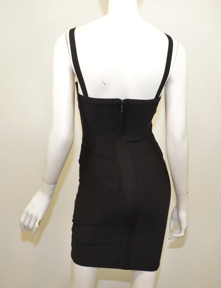 Herve Leger Black Bodycon Dress with Lace In Good Condition For Sale In Carmel by the Sea, CA