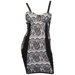 Herve Leger Black Bodycon Dress with Lace