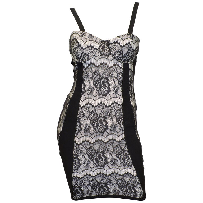 Herve Leger Black Bodycon Dress with Lace For Sale