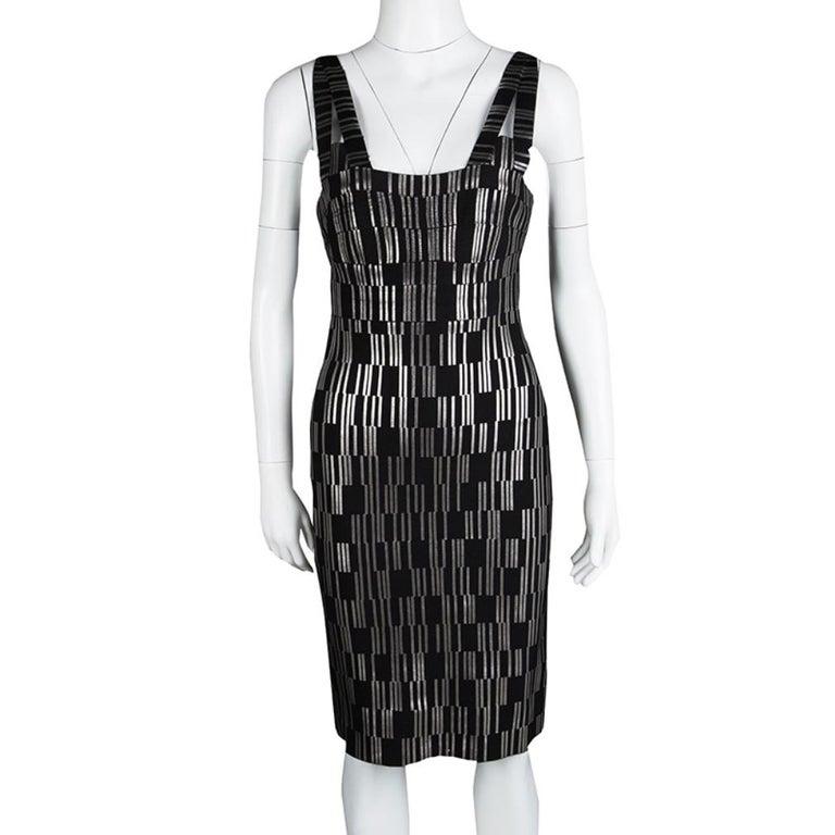 Herve Leger Black Foil Printed Jasmine Bandage Dress M In Excellent Condition For Sale In Dubai, Al Qouz 2