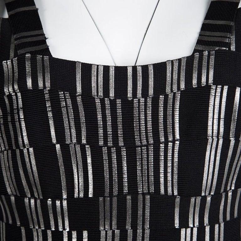 Women's Herve Leger Black Foil Printed Jasmine Bandage Dress M For Sale