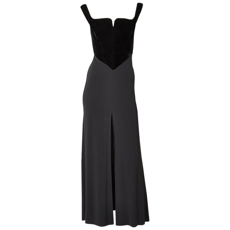 Herv Leger Black Gown With Velvet Bustier For Sale At 1stdibs