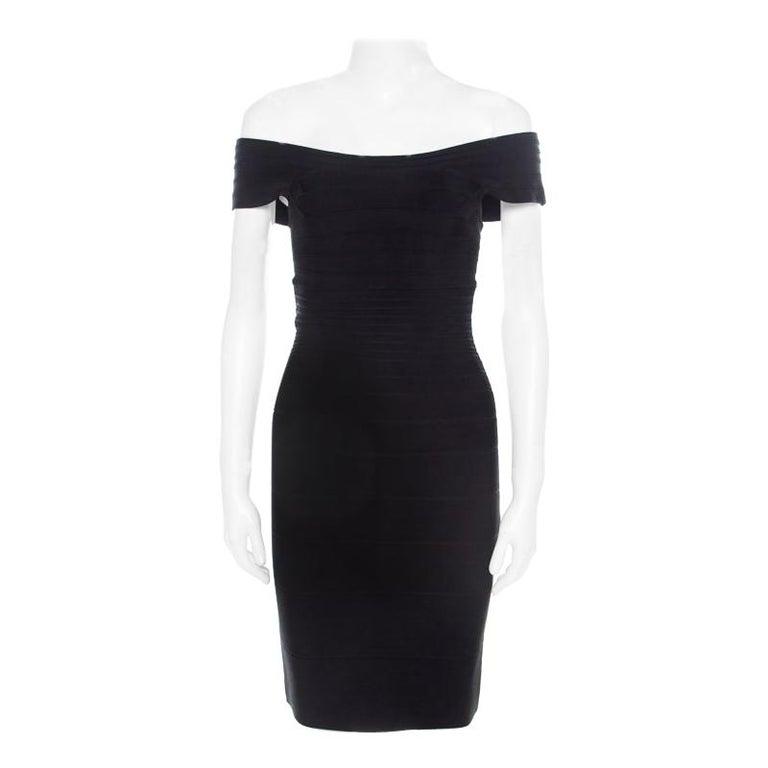 Herve Leger Black Knit Off Shoulder Marina Bandage Dress Xs