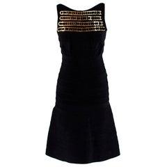 Herve Leger Black Knit Sleeveless Mini Dress with Chain S