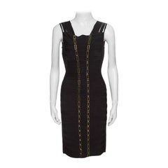 Herve Leger Black Metal Chain Link Detail Bandage Gemma Dress M