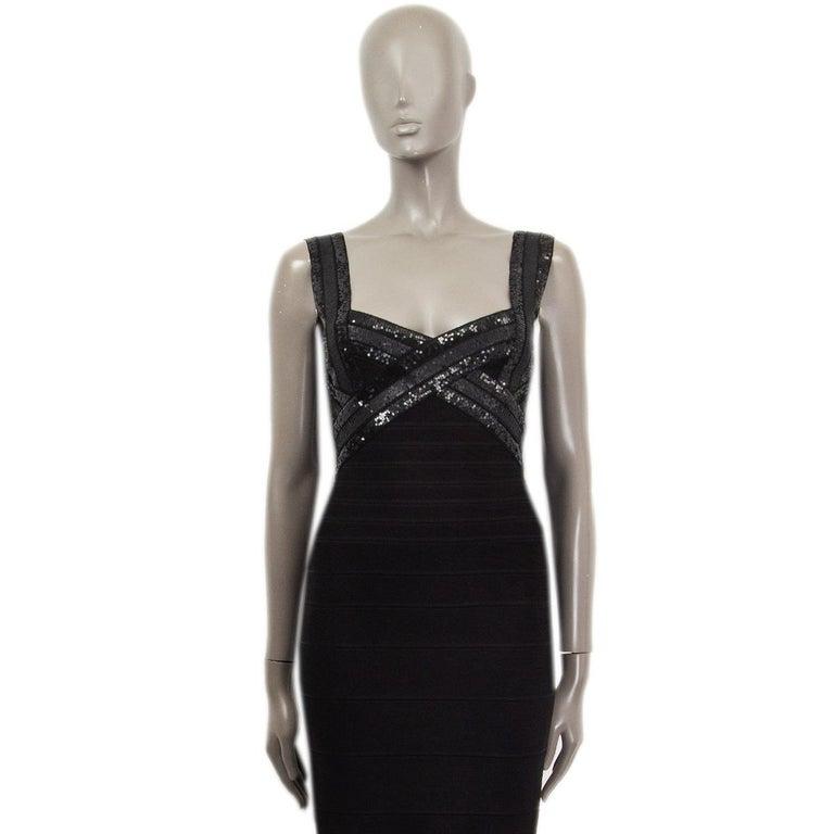 Black HERVE LEGER black SEQUINS CRISS CROSS Sleeveless BANDAGE BODYCON Dress S For Sale