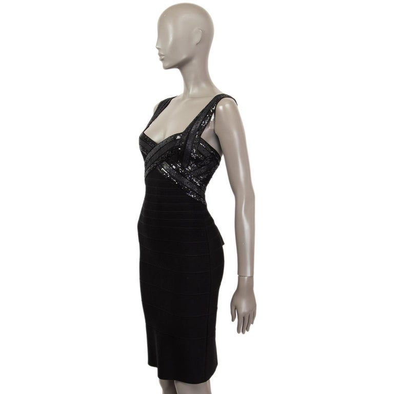 HERVE LEGER black SEQUINS CRISS CROSS Sleeveless BANDAGE BODYCON Dress S In Excellent Condition For Sale In Zürich, CH
